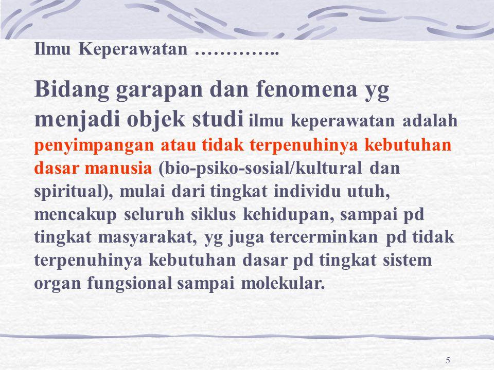 5 Bidang garapan dan fenomena yg menjadi objek studi ilmu keperawatan adalah penyimpangan atau tidak terpenuhinya kebutuhan dasar manusia (bio-psiko-s