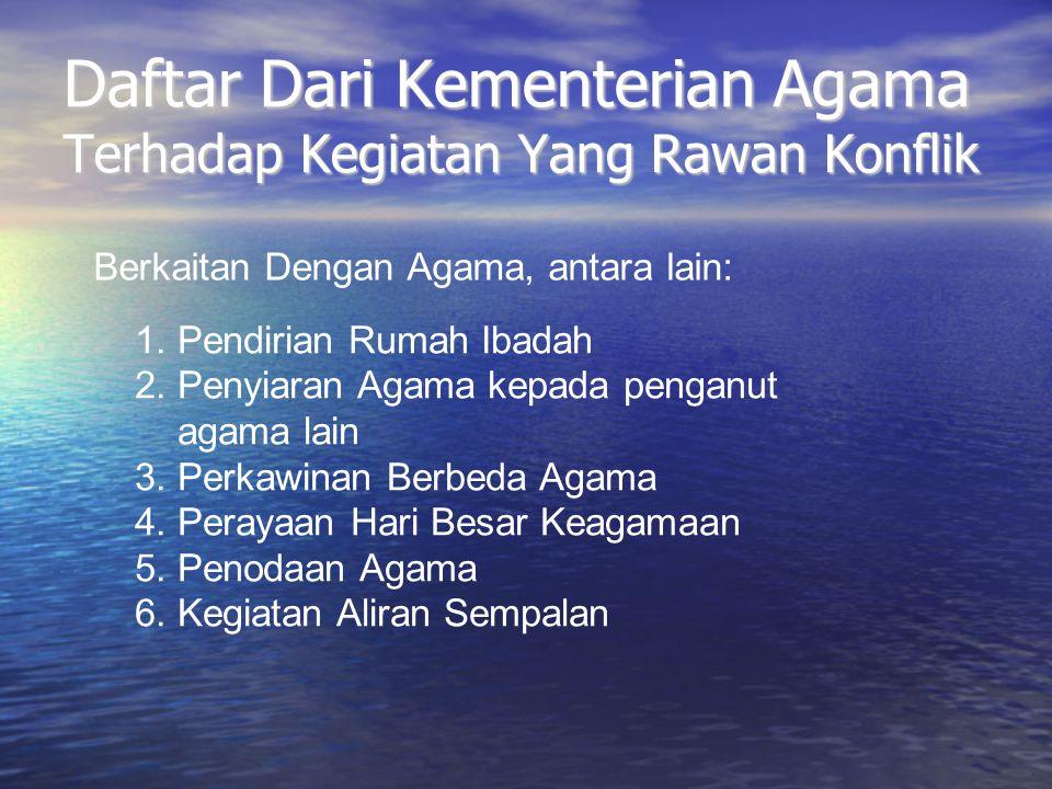 Daftar Dari Kementerian Agama Terhadap Kegiatan Yang Rawan Konflik 1. Pendirian Rumah Ibadah 2. Penyiaran Agama kepada penganut agama lain 3. Perkawin