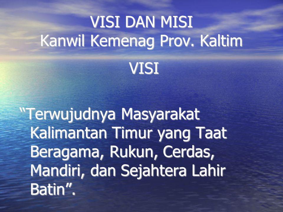 """VISI DAN MISI Kanwil Kemenag Prov. Kaltim VISI """"Terwujudnya Masyarakat Kalimantan Timur yang Taat Beragama, Rukun, Cerdas, Mandiri, dan Sejahtera Lahi"""