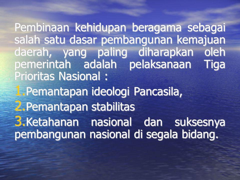 Pembinaan kehidupan beragama sebagai salah satu dasar pembangunan kemajuan daerah, yang paling diharapkan oleh pemerintah adalah pelaksanaan Tiga Prio