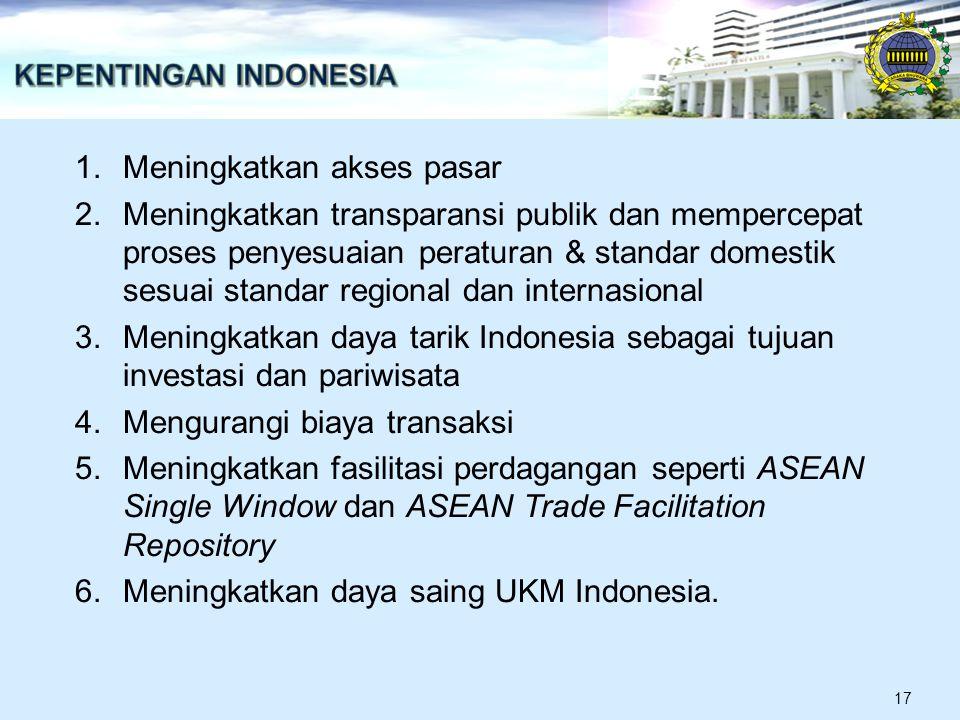 1.Meningkatkan akses pasar 2.Meningkatkan transparansi publik dan mempercepat proses penyesuaian peraturan & standar domestik sesuai standar regional dan internasional 3.Meningkatkan daya tarik Indonesia sebagai tujuan investasi dan pariwisata 4.Mengurangi biaya transaksi 5.Meningkatkan fasilitasi perdagangan seperti ASEAN Single Window dan ASEAN Trade Facilitation Repository 6.Meningkatkan daya saing UKM Indonesia.