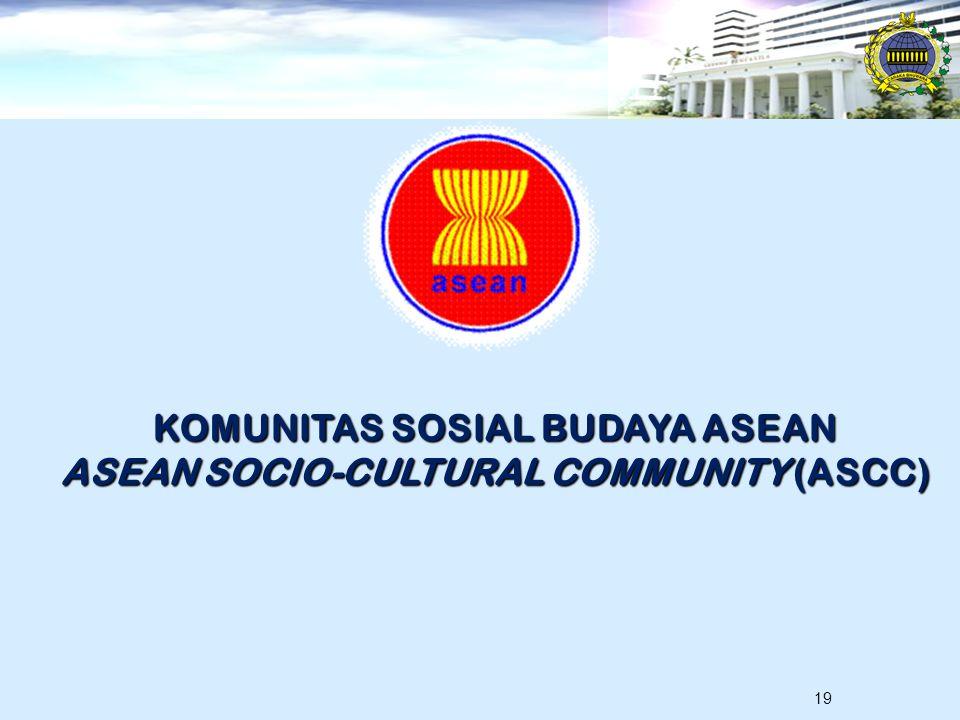19 KOMUNITAS SOSIAL BUDAYA ASEAN ASEAN SOCIO-CULTURAL COMMUNITY (ASCC)
