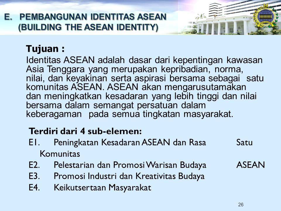 26 Tujuan : Identitas ASEAN adalah dasar dari kepentingan kawasan Asia Tenggara yang merupakan kepribadian, norma, nilai, dan keyakinan serta aspirasi bersama sebagai satu komunitas ASEAN.