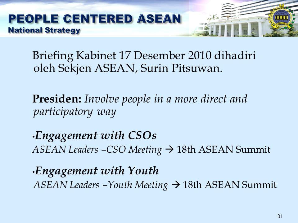 31 Briefing Kabinet 17 Desember 2010 dihadiri oleh Sekjen ASEAN, Surin Pitsuwan.