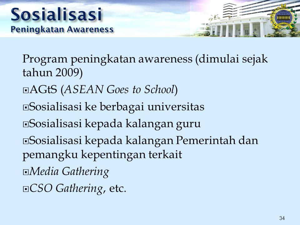 Program peningkatan awareness (dimulai sejak tahun 2009)  AGtS ( ASEAN Goes to School )  Sosialisasi ke berbagai universitas  Sosialisasi kepada kalangan guru  Sosialisasi kepada kalangan Pemerintah dan pemangku kepentingan terkait  Media Gathering  CSO Gathering, etc.