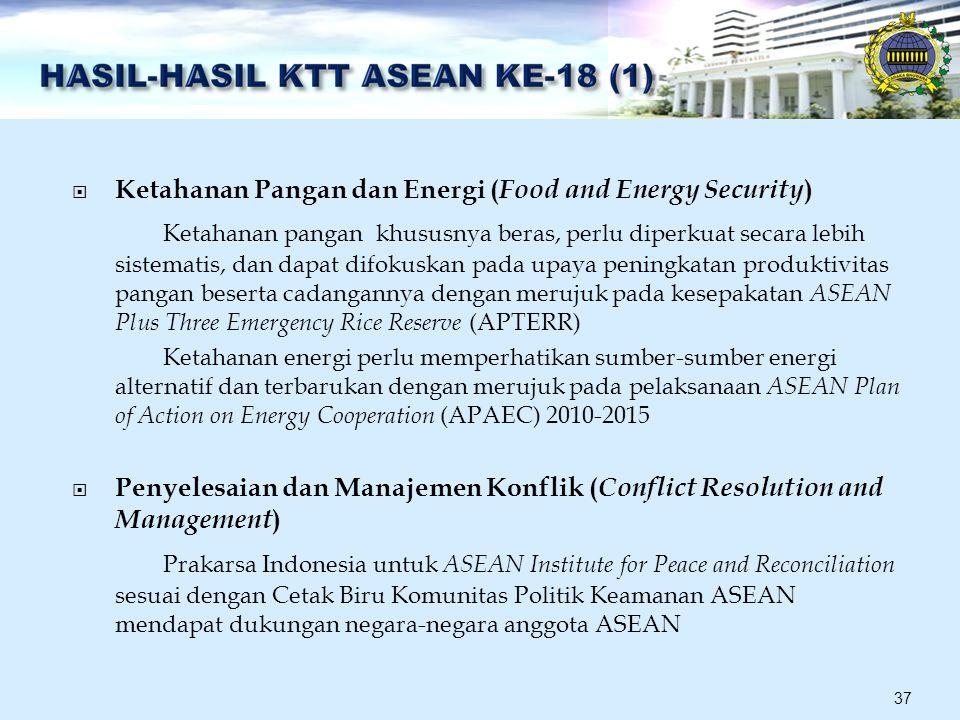  Ketahanan Pangan dan Energi ( Food and Energy Security ) Ketahanan pangan khususnya beras, perlu diperkuat secara lebih sistematis, dan dapat difokuskan pada upaya peningkatan produktivitas pangan beserta cadangannya dengan merujuk pada kesepakatan ASEAN Plus Three Emergency Rice Reserve (APTERR) Ketahanan energi perlu memperhatikan sumber-sumber energi alternatif dan terbarukan dengan merujuk pada pelaksanaan ASEAN Plan of Action on Energy Cooperation (APAEC) 2010-2015  Penyelesaian dan Manajemen Konflik ( Conflict Resolution and Management ) Prakarsa Indonesia untuk ASEAN Institute for Peace and Reconciliation sesuai dengan Cetak Biru Komunitas Politik Keamanan ASEAN mendapat dukungan negara-negara anggota ASEAN 37