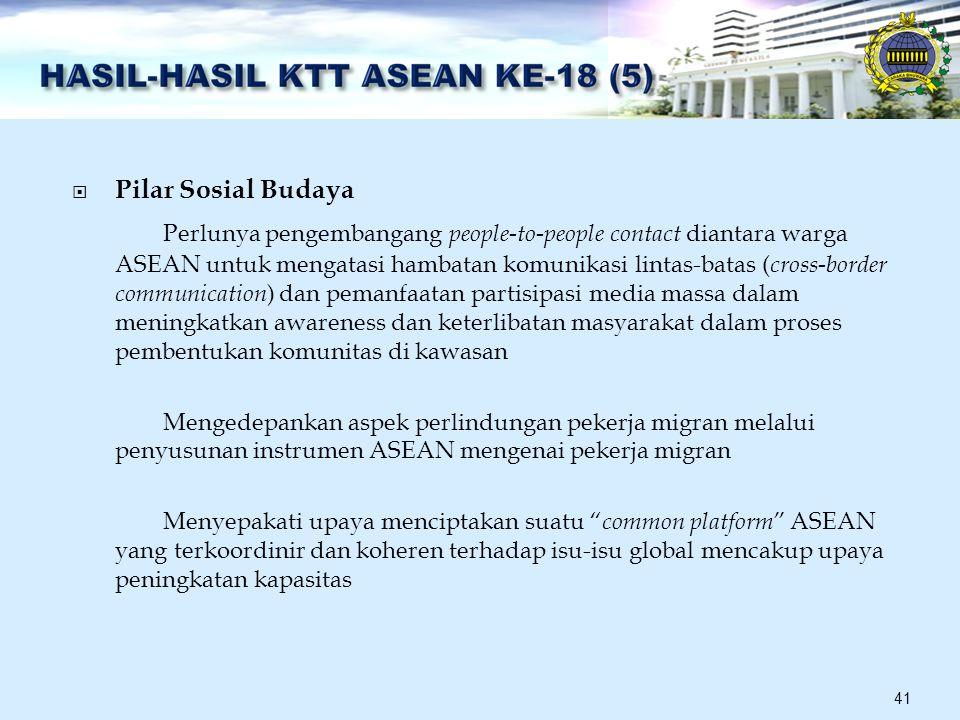  Pilar Sosial Budaya Perlunya pengembangang people-to-people contact diantara warga ASEAN untuk mengatasi hambatan komunikasi lintas-batas ( cross-border communication ) dan pemanfaatan partisipasi media massa dalam meningkatkan awareness dan keterlibatan masyarakat dalam proses pembentukan komunitas di kawasan Mengedepankan aspek perlindungan pekerja migran melalui penyusunan instrumen ASEAN mengenai pekerja migran Menyepakati upaya menciptakan suatu common platform ASEAN yang terkoordinir dan koheren terhadap isu-isu global mencakup upaya peningkatan kapasitas 41