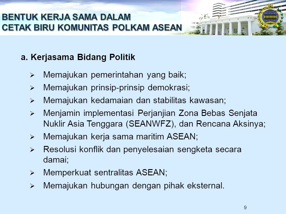a. Kerjasama Bidang Politik  Memajukan pemerintahan yang baik;  Memajukan prinsip-prinsip demokrasi;  Memajukan kedamaian dan stabilitas kawasan; 