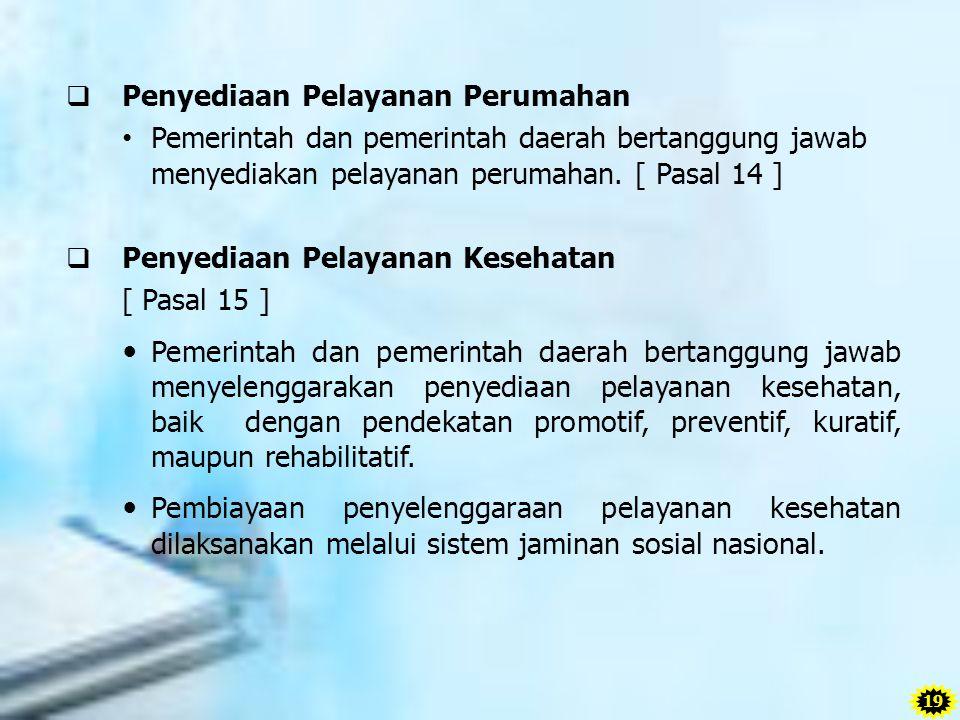 Penyediaan Pelayanan Perumahan Pemerintah dan pemerintah daerah bertanggung jawab menyediakan pelayanan perumahan. [ Pasal 14 ]  Penyediaan Pelayan