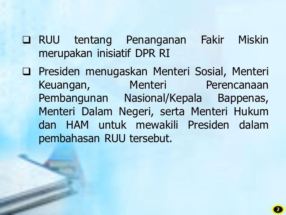  Pengesahan RUU tentang Penanganan Fakir Miskin tanggal 11 Agustus 2011 dalam Sidang Paripurna DPR RI  Diundangkan oleh Presiden pada tanggal 18 Agustus 2011 dalam Lembaran Negara Republik Indonesia Tahun 2011 Nomor 83.