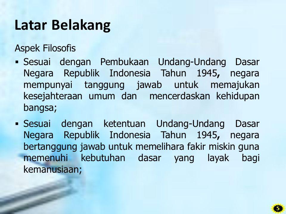 Latar Belakang Aspek Filosofis  Sesuai dengan Pembukaan Undang-Undang Dasar Negara Republik Indonesia Tahun 1945, negara mempunyai tanggung jawab unt
