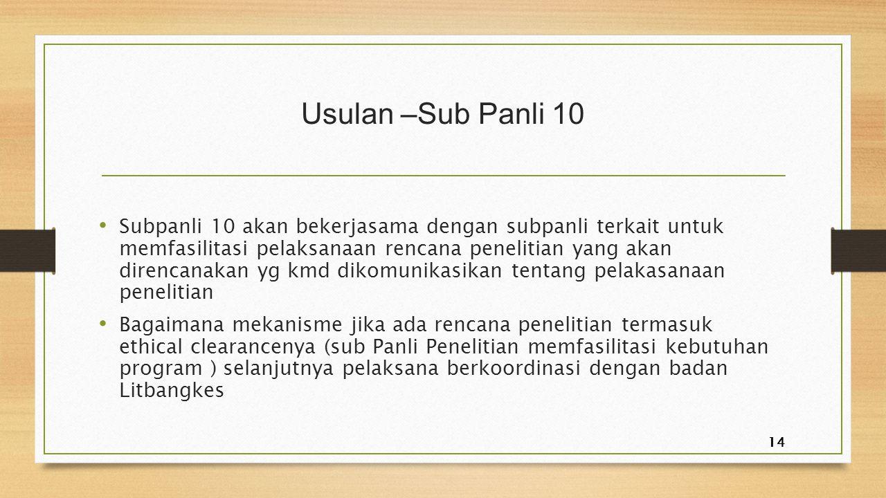 Usulan –Sub Panli 10 Subpanli 10 akan bekerjasama dengan subpanli terkait untuk memfasilitasi pelaksanaan rencana penelitian yang akan direncanakan yg
