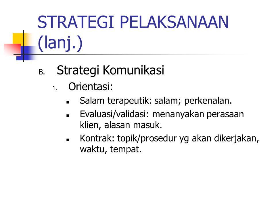 STRATEGI PELAKSANAAN (lanj.) B.Strategi Komunikasi 1.