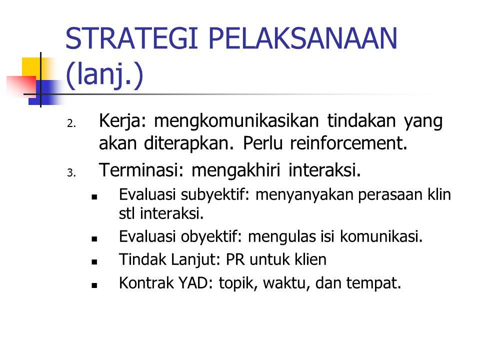 STRATEGI PELAKSANAAN (lanj.) 2.Kerja: mengkomunikasikan tindakan yang akan diterapkan.