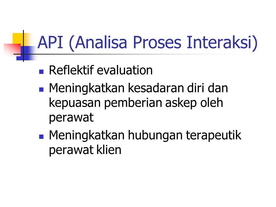 API (Analisa Proses Interaksi) Reflektif evaluation Meningkatkan kesadaran diri dan kepuasan pemberian askep oleh perawat Meningkatkan hubungan terapeutik perawat klien