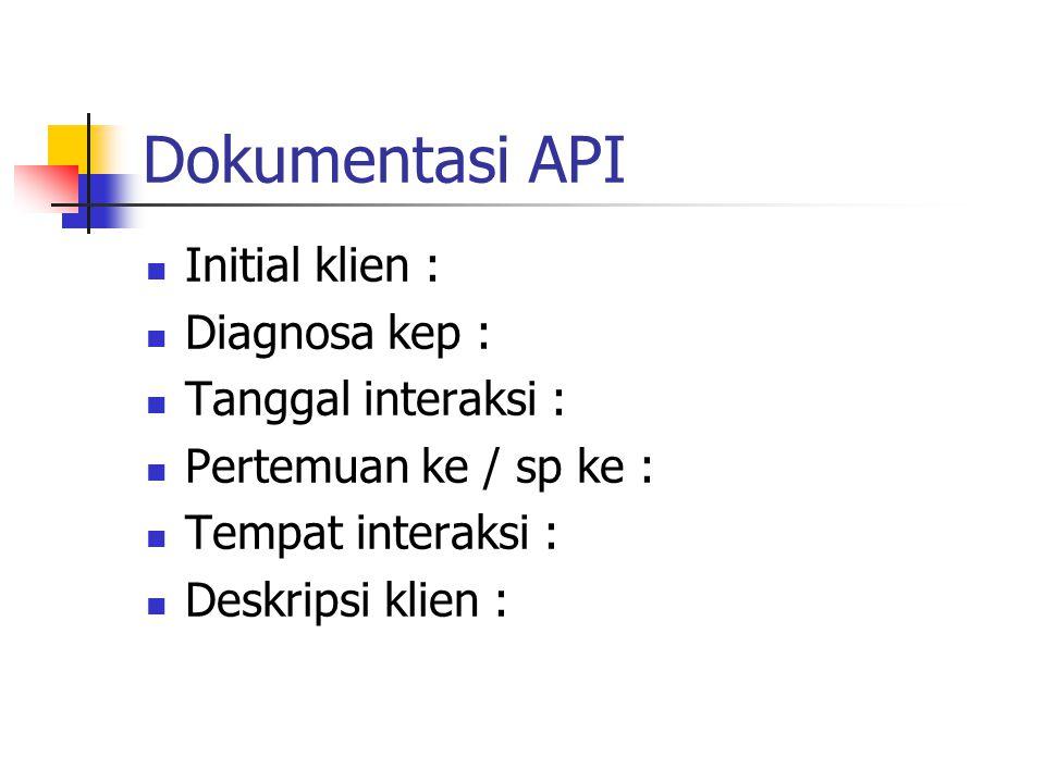 Dokumentasi API Initial klien : Diagnosa kep : Tanggal interaksi : Pertemuan ke / sp ke : Tempat interaksi : Deskripsi klien :