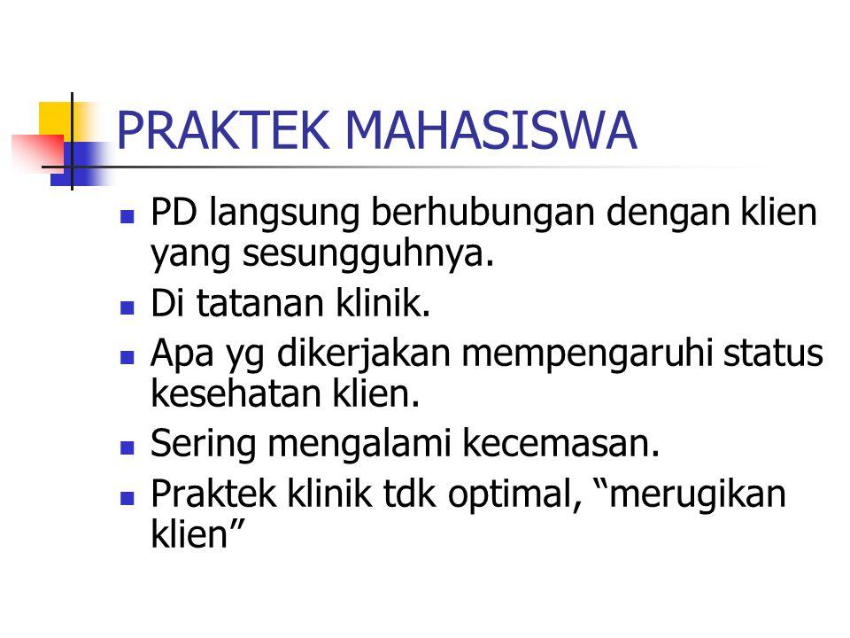 PRAKTEK MAHASISWA PD langsung berhubungan dengan klien yang sesungguhnya.