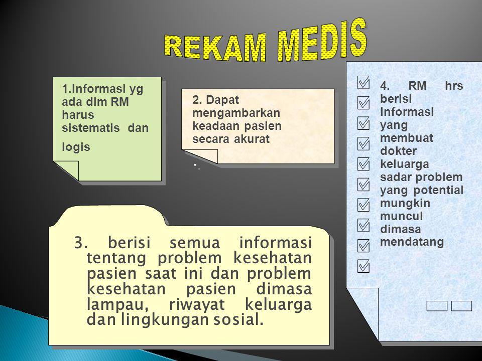  RM H arus Mempunyai Standar :  a.Struktur dan isi rekam medis  b.
