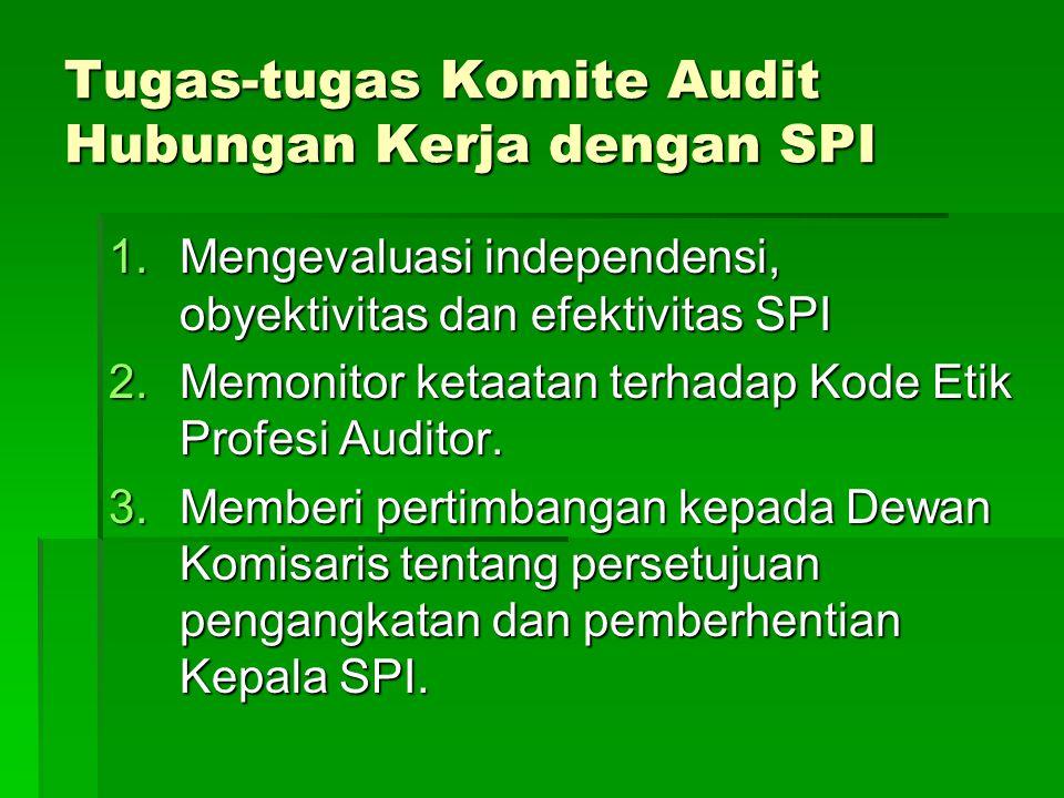Tugas-tugas Komite Audit Hubungan Kerja dengan SPI 1.Mengevaluasi independensi, obyektivitas dan efektivitas SPI 2.Memonitor ketaatan terhadap Kode Et