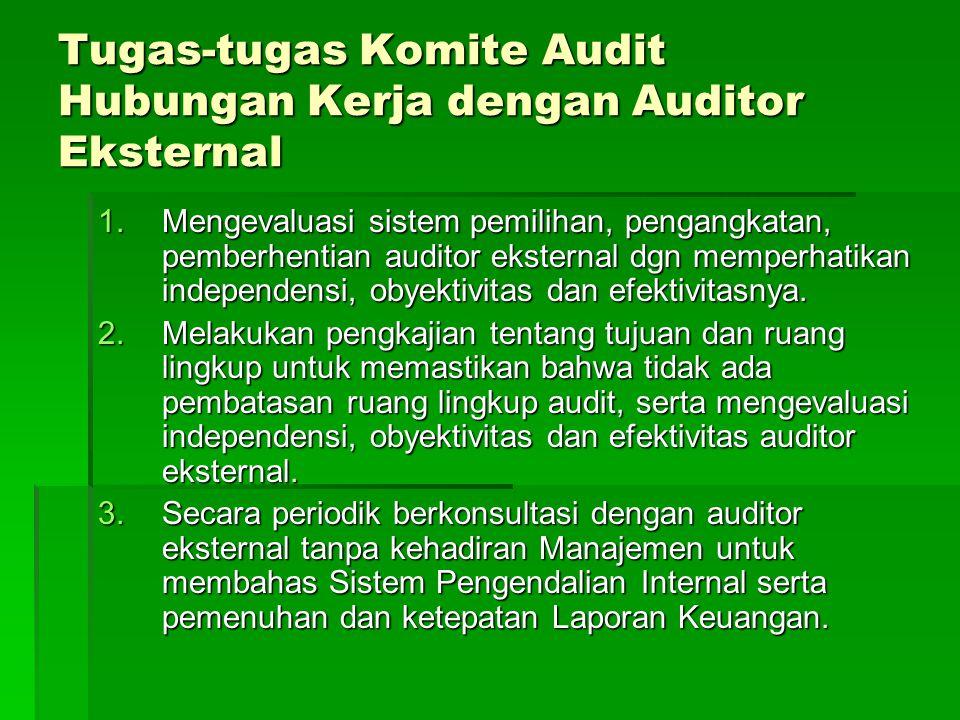 Tugas-tugas Komite Audit Hubungan Kerja dengan Auditor Eksternal 1.Mengevaluasi sistem pemilihan, pengangkatan, pemberhentian auditor eksternal dgn me