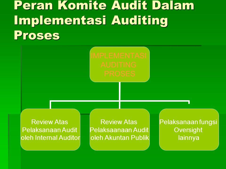 Peran Komite Audit Dalam Implementasi Auditing Proses IMPLEMENTASI AUDITING PROSES Review Atas Pelaksanaan Audit oleh Internal Auditor Review Atas Pel