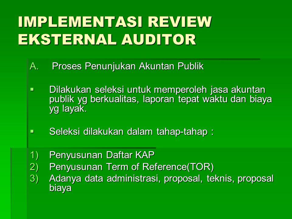 IMPLEMENTASI REVIEW EKSTERNAL AUDITOR A. Proses Penunjukan Akuntan Publik  Dilakukan seleksi untuk memperoleh jasa akuntan publik yg berkualitas, lap