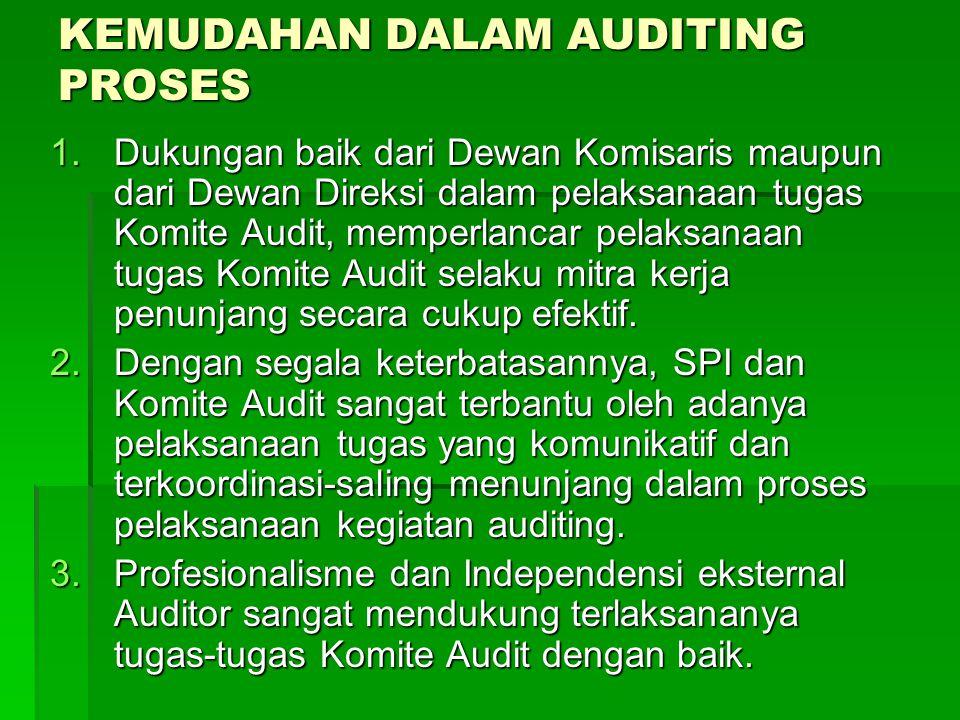 KEMUDAHAN DALAM AUDITING PROSES 1.Dukungan baik dari Dewan Komisaris maupun dari Dewan Direksi dalam pelaksanaan tugas Komite Audit, memperlancar pela