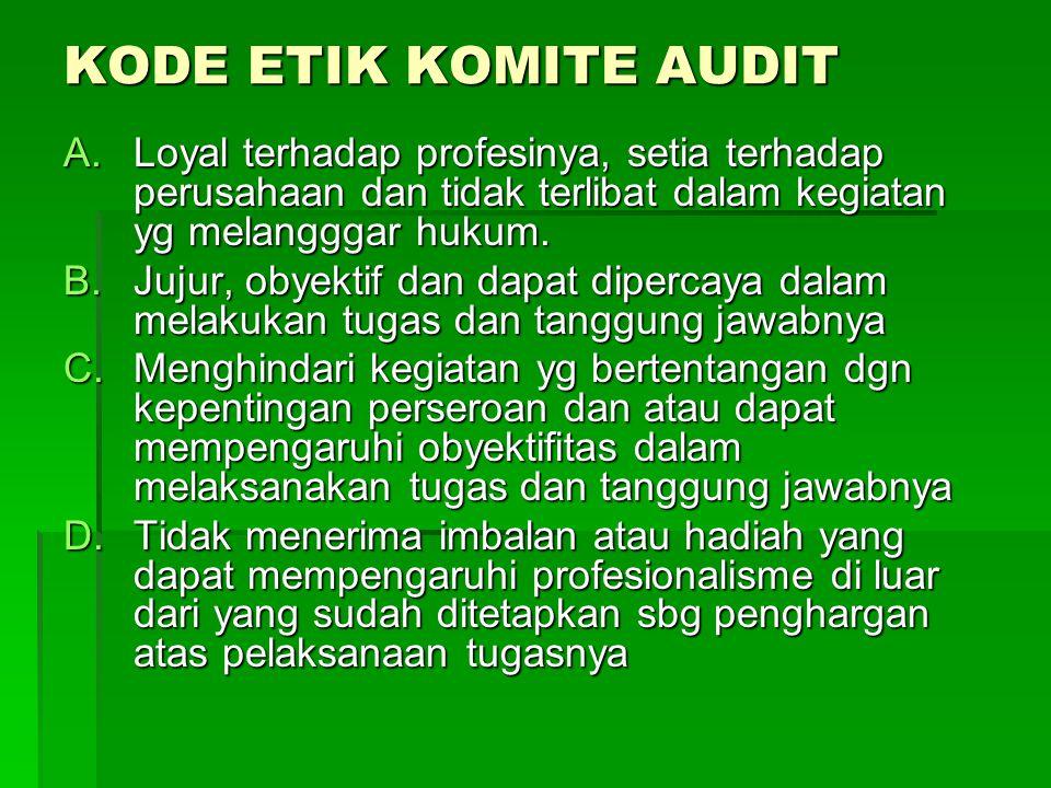 KODE ETIK KOMITE AUDIT A.Loyal terhadap profesinya, setia terhadap perusahaan dan tidak terlibat dalam kegiatan yg melangggar hukum. B.Jujur, obyektif