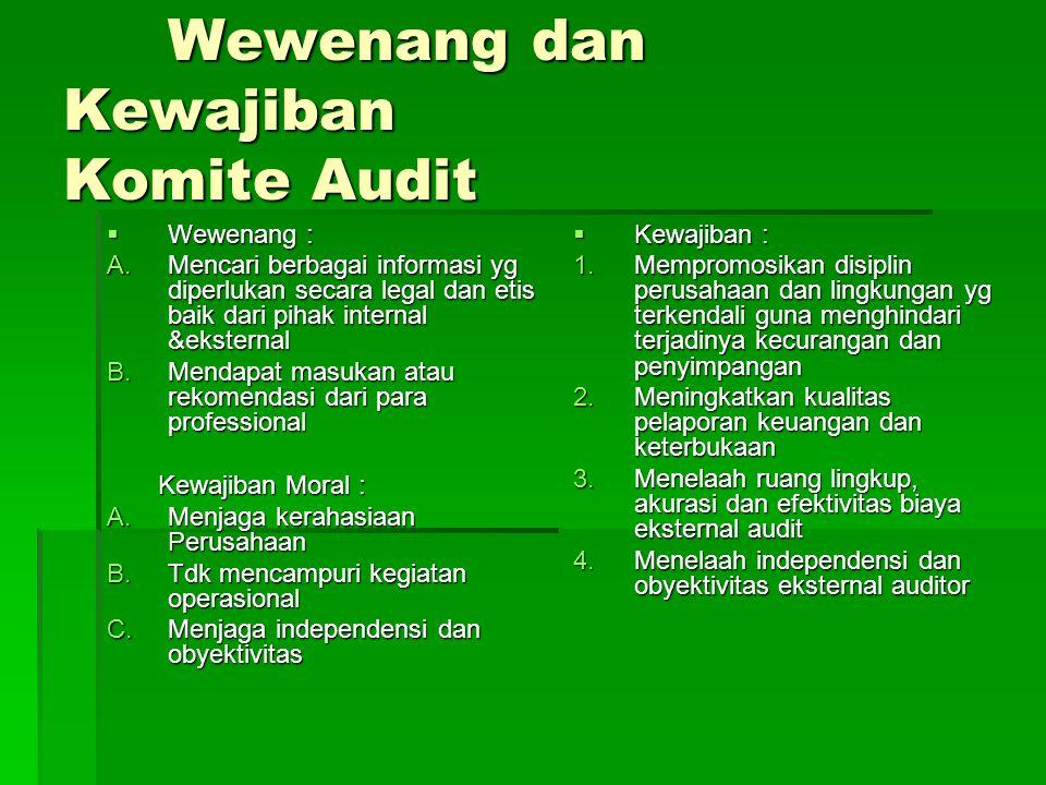 Tugas-tugas Komite Audit Perbaikan Proses 1.Menelaah sendiri, secara terpisah dgn Manajeman, Auditor Eksternal dan Auditor Internal, tentang kesulitan signifikan yg ditemukan dlm pelaksanaan audit, termasuk batasan ruang lingkup apapun atau kesempatan untuk memperoleh informasi, dlm rangka penyelesaian audit tahunan 2.Menetapkan & menyempurnakan sistem pelaporan yg rutin dari Manajemen, Auditor Eksternal dan Auditor Internal, kepada Komite Audit berdasarkan kesepakatan bersama.