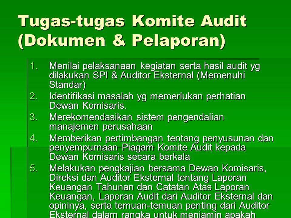 Tugas-tugas Komite Audit (Dokumen & Pelaporan) 1.Menilai pelaksanaan kegiatan serta hasil audit yg dilakukan SPI & Auditor Eksternal (Memenuhi Standar