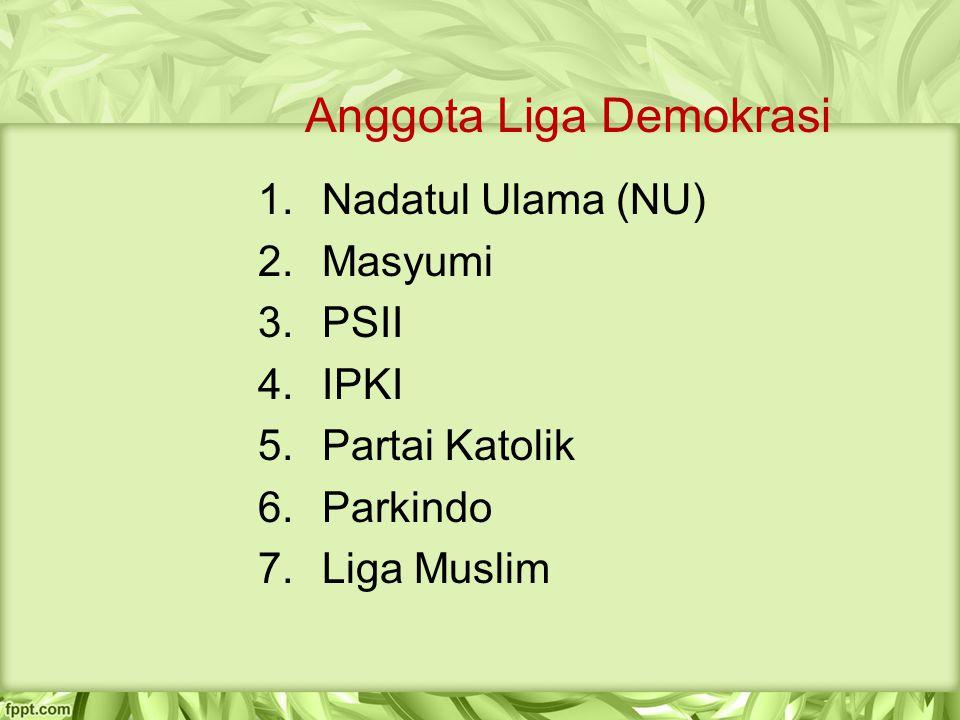 Anggota Liga Demokrasi 1.Nadatul Ulama (NU) 2.Masyumi 3.PSII 4.IPKI 5.Partai Katolik 6.Parkindo 7.Liga Muslim