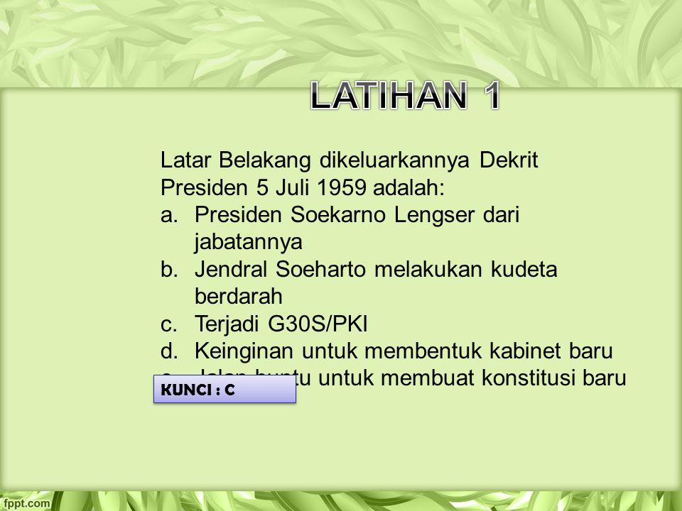 Latar Belakang dikeluarkannya Dekrit Presiden 5 Juli 1959 adalah: a.Presiden Soekarno Lengser dari jabatannya b.Jendral Soeharto melakukan kudeta berd
