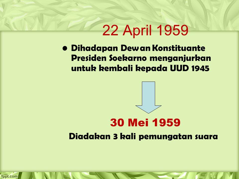 22 April 1959 Dihadapan Dewan Konstituante Presiden Soekarno menganjurkan untuk kembali kepada UUD 1945 30 Mei 1959 Diadakan 3 kali pemungatan suara