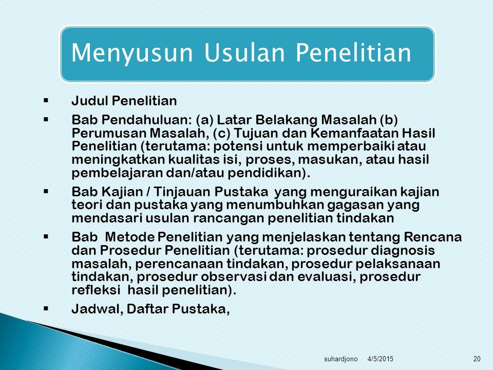 Usulan Penelitian Tindakan Sekolah, Kerangka Isi, Pelaksanaan 4/5/2015 suhardjono 19