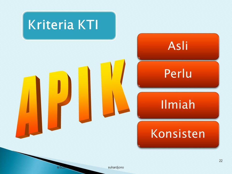 suhardjono 21 1. KTI harus mendukung ketercapaian tujuan kegiatan pengembangan profesi 2. KTI harus tersaji dalam format keilmuan (ilmiah) 3. KTI peng