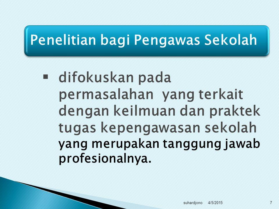  Penelitian tindakan banyak dilakukan baik guru maupun pengawas.  Bagi guru : Penelitian Tindakan Kelas (PTK)  Bagi pengawas : Penelitian Tindakan