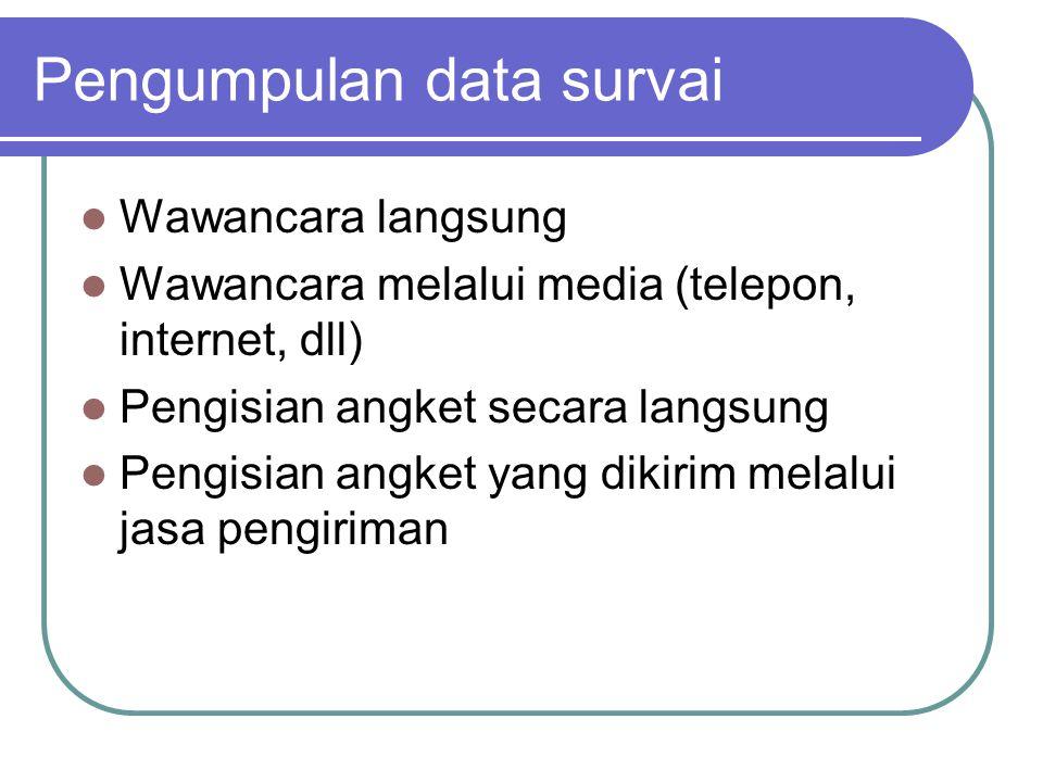 Pengumpulan data survai Wawancara langsung Wawancara melalui media (telepon, internet, dll) Pengisian angket secara langsung Pengisian angket yang dikirim melalui jasa pengiriman