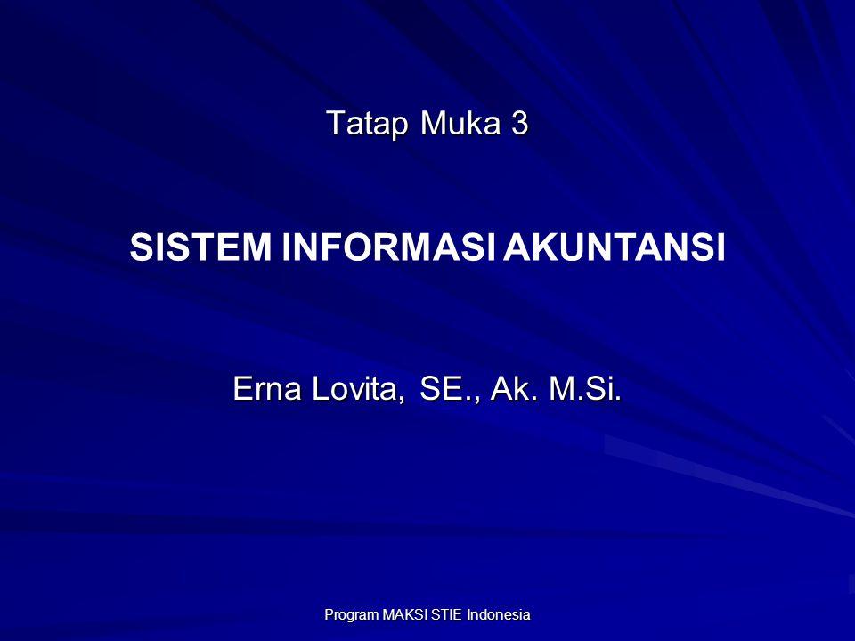 Program MAKSI STIE Indonesia Tatap Muka 3 Erna Lovita, SE., Ak. M.Si. SISTEM INFORMASI AKUNTANSI