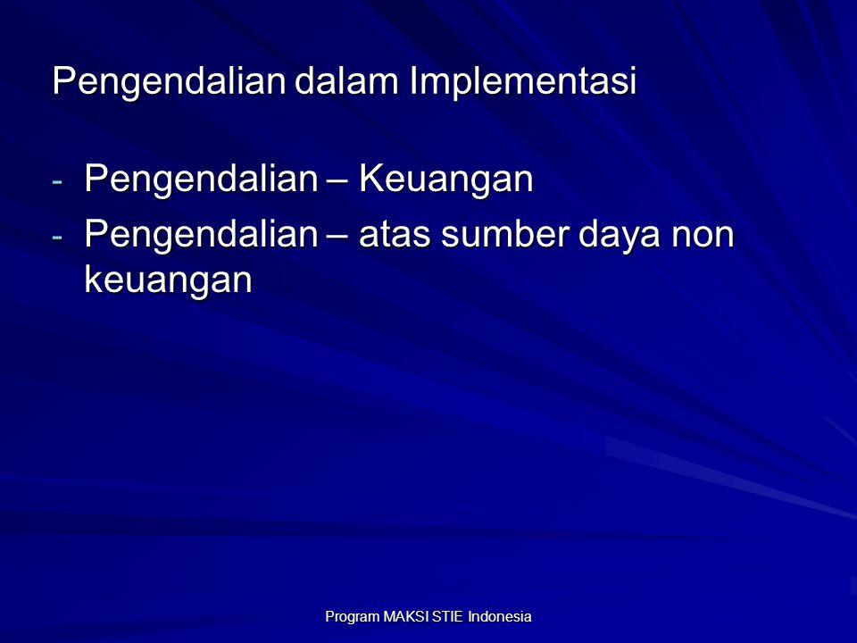 Program MAKSI STIE Indonesia Pengendalian dalam Implementasi - Pengendalian – Keuangan - Pengendalian – atas sumber daya non keuangan