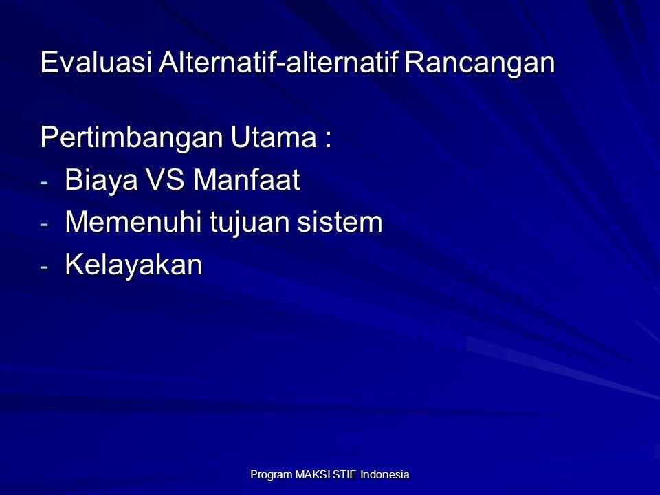 Program MAKSI STIE Indonesia Evaluasi Alternatif-alternatif Rancangan Pertimbangan Utama : - Biaya VS Manfaat - Memenuhi tujuan sistem - Kelayakan