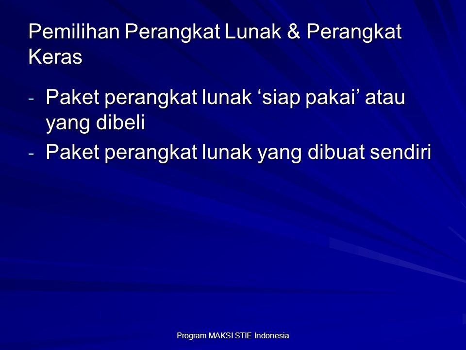 Program MAKSI STIE Indonesia Pemilihan Perangkat Lunak & Perangkat Keras - Paket perangkat lunak 'siap pakai' atau yang dibeli - Paket perangkat lunak