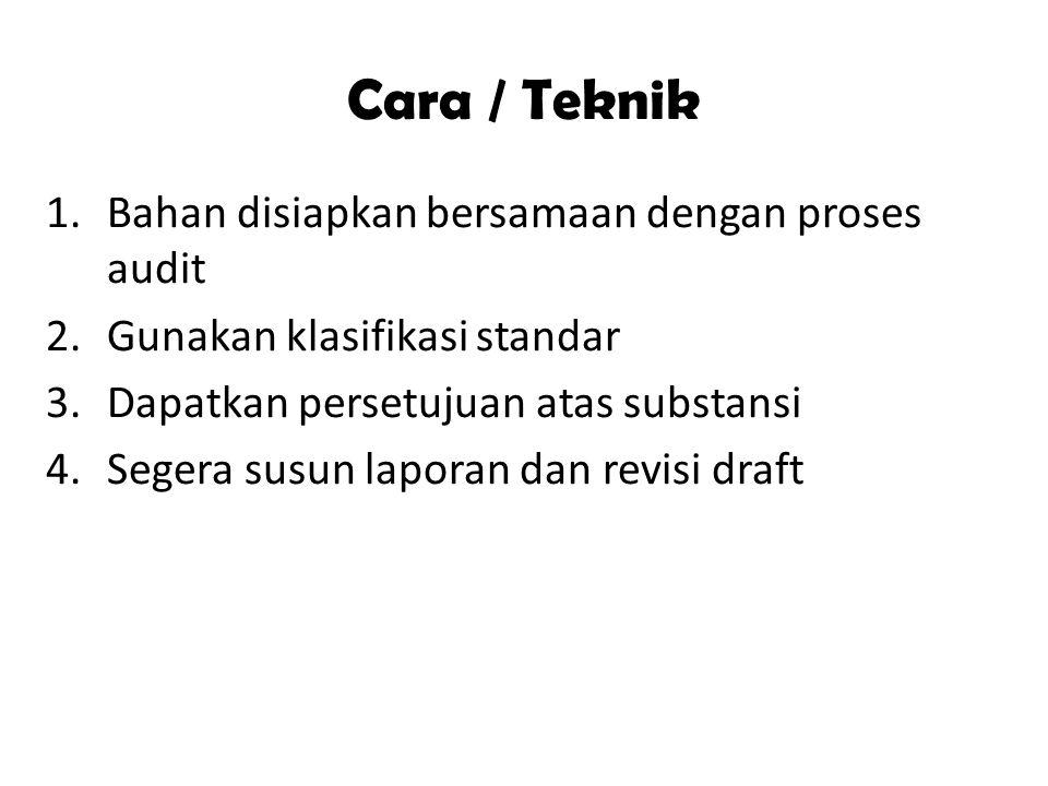 Cara / Teknik 1.Bahan disiapkan bersamaan dengan proses audit 2.Gunakan klasifikasi standar 3.Dapatkan persetujuan atas substansi 4.Segera susun laporan dan revisi draft