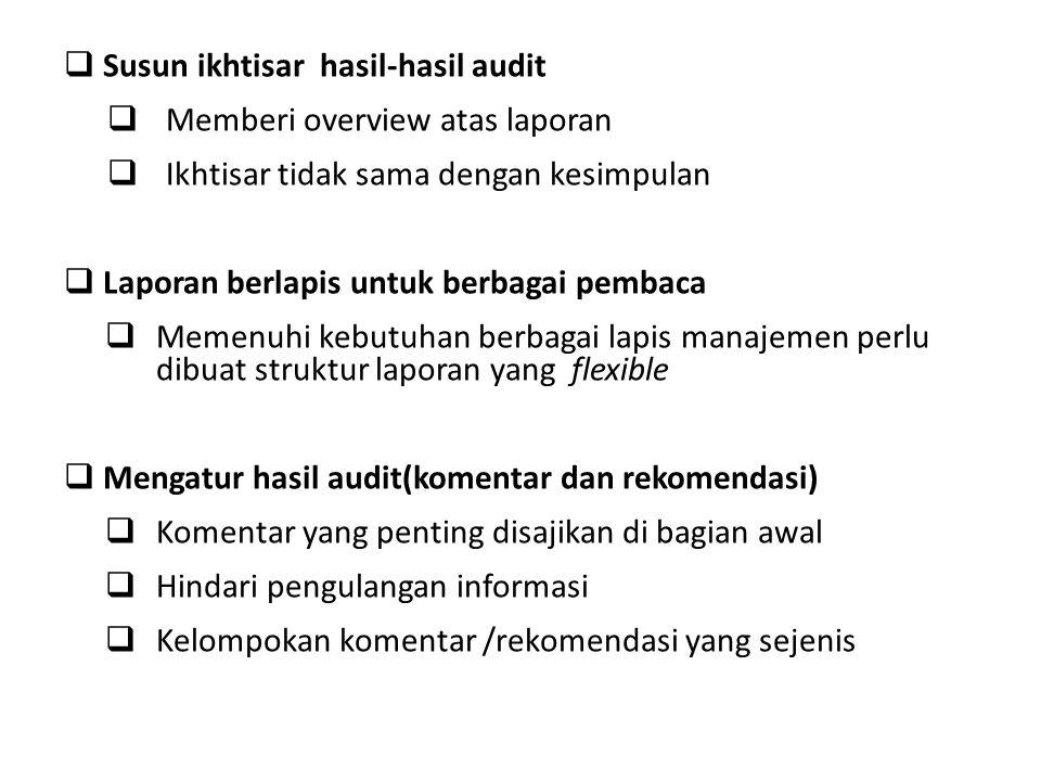  Susun ikhtisar hasil-hasil audit  Memberi overview atas laporan  Ikhtisar tidak sama dengan kesimpulan  Laporan berlapis untuk berbagai pembaca 