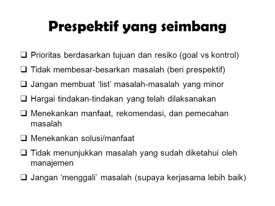 Prespektif yang seimbang  Prioritas berdasarkan tujuan dan resiko (goal vs kontrol)  Tidak membesar-besarkan masalah (beri prespektif)  Jangan memb
