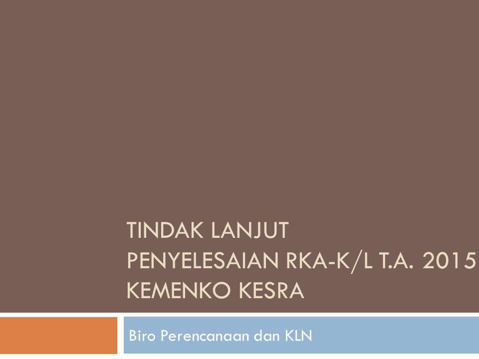 TINDAK LANJUT PENYELESAIAN RKA-K/L T.A. 2015 KEMENKO KESRA Biro Perencanaan dan KLN