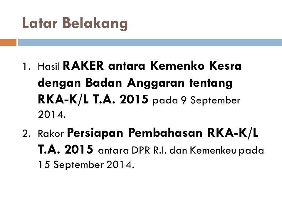 Latar Belakang 1.Hasil RAKER antara Kemenko Kesra dengan Badan Anggaran tentang RKA-K/L T.A. 2015 pada 9 September 2014. 2.Rakor Persiapan Pembahasan