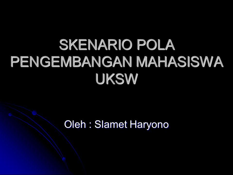 SKENARIO POLA PENGEMBANGAN MAHASISWA UKSW Oleh : Slamet Haryono