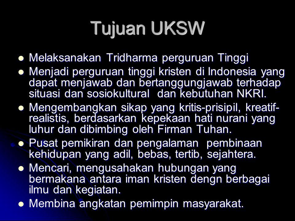 Tujuan UKSW Melaksanakan Tridharma perguruan Tinggi Melaksanakan Tridharma perguruan Tinggi Menjadi perguruan tinggi kristen di Indonesia yang dapat m