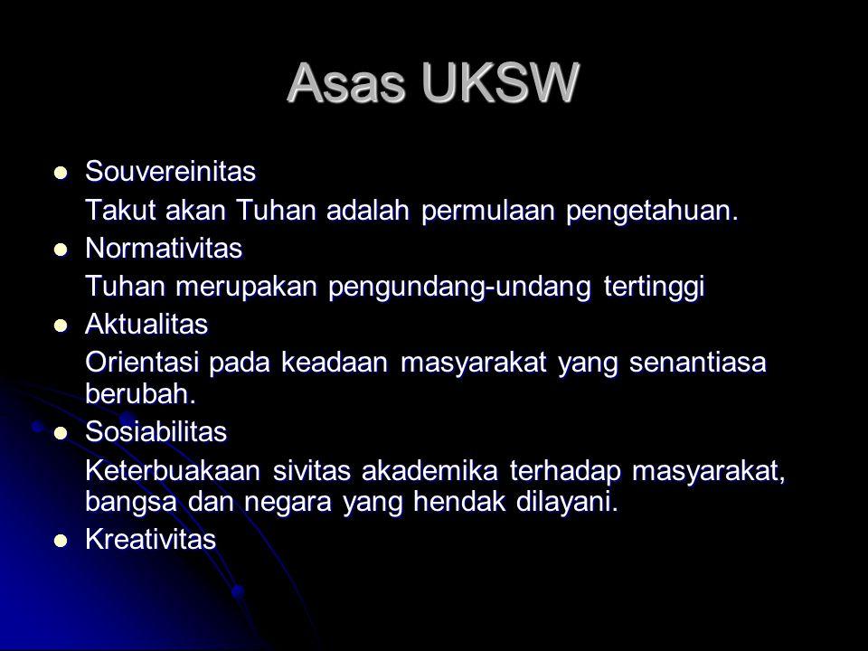 Asas UKSW Souvereinitas Souvereinitas Takut akan Tuhan adalah permulaan pengetahuan. Normativitas Normativitas Tuhan merupakan pengundang-undang terti