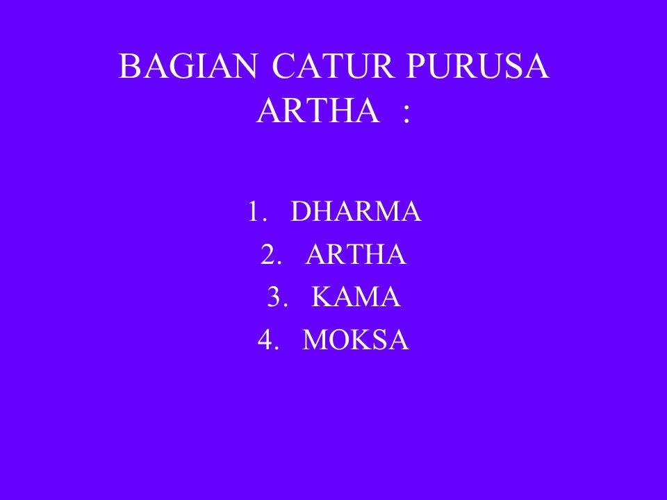 BAGIAN CATUR PURUSA ARTHA : 1.DHARMA 2.ARTHA 3.KAMA 4.MOKSA